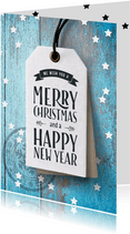 Blauwe zakelijke kerstkaart label