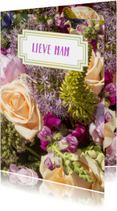 Bloemenkaarten - Bloemen luxe bloemetje geel-lila