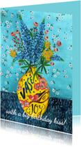 Bloemen voor de jarige Gele Vaas