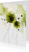 Bloemenkaart bloemen groen aquarel