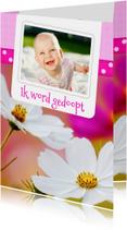 Bloemenkaart doop roze - BK