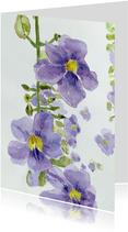 Bloemenkaart paarse bloemen aquarel