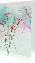 Bloemenkaart veldbloemen roze