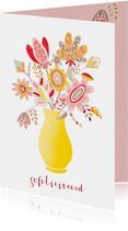 Bloemenkaart verjaardag handgetekend bloemen vaas geel