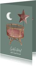 Bohemian felicitatiekaart geboorte kleinkind met wieg