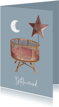Bohemian felicitatiekaart geboorte wieg, ster en maan
