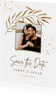 Bohemian save the date uitnodigingskaart blad goud