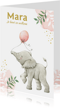 Botanisch geboortekaartje meisje met lief olifantje