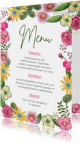 Botanisch menukaart bloemen