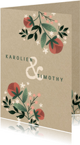 Botanische trouwkaart met bloemen, planten en kraftlook