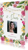 Botanische uitnodiging 21 diner bloemen