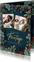 Botanische Weihnachtskarte mit Fotos und Herzchen