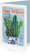 Cactus waterverf Trendy Kaart