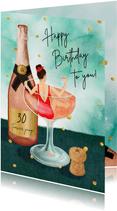 Champagne bad verjaardagkaart