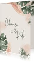 Change the date kaart met groen en zalmroze waterverf