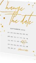 Change-the-date-Karte Kalender Goldlook