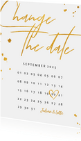 Change-the-date-Karte Kalender Goldlook