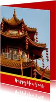 Chinees nieuwjaar met tempel