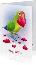 Chiwowy Valentijnskaart met dwergpapegaai