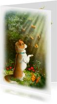 Chiwowy  'Wij denken aan je' met vlinders en hondje