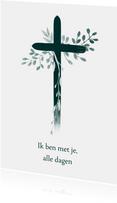 Christelijke kaart kruis met bladeren