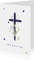 Christelijke kaart kruis met twijgjes