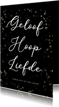 Christelijke kerstkaart geloof hoop en liefde - met sterren