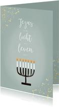 Christelijke kerstkaart Jezus Licht Leven Menorah en goud