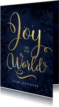 Christelijke kerstkaart Joy to the world goud donker blauw