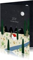 Christelijke kerstkaart met planten en huisje illustratie