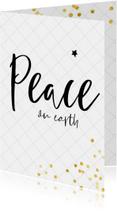 Christelijke kerstkaart met trendy lettertype en confetti