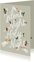 Christelijke kerstkaart met typografie en illustraties