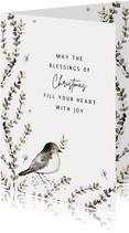 Christelijke kerstkaart vogel takjes