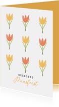 Christelijke paaskaart tulpen geel oranje gezegend pasen