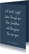 Christelijke quote kerstkaart met blauwe achtergrond