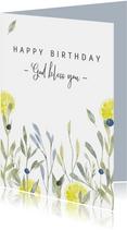 Christelijke verjaardagskaart twijgjes, aanpasbare tekst