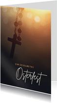 Christliche Ostergrußkarte Rosenkranz