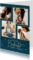 Collage geboorte bedankkaartjes panterprint & gouden hartjes
