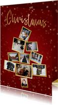 Collage kerstkaart kerstboom rood  en goud voor 10 foto's