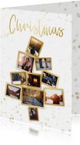 Collage kerstkaart kerstboom wit en goud voor 10 foto's