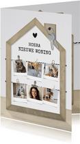 Collagekaart nieuw huis met houten huisje en fotocollage