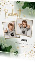 Communie bedankkaart hip met planten foto's en goudlook