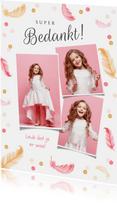 Communie bedankkaartje meisje veertjes confetti fotocollage