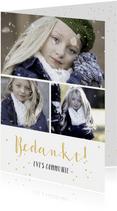 communie bedankkaartje met fotocollage met 3 foto's