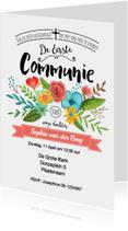 Communie Bloemen uitnodiging