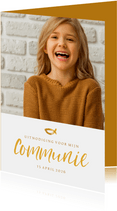 Communie fotokaart uitnodiging handschrift