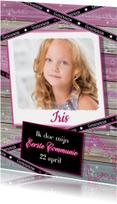 Communie hout lintje foto meisje