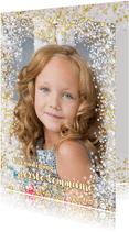 Communie stijlvolle fotokaart met hartjes en bloemen
