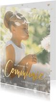 Communie uitnodiging fotokaart met gouden letters