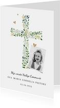 Communie uitnodiging klassiek kruis hartjes foto
